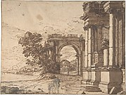 Landscape with Classical Architecture by a Lake