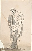 Drawing after Male Statue Leaning on Tree Trunk