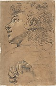 Profile Head of a Youth Looking to Upper Left, and Study of Clasped Hands