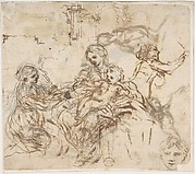 The Virgin and Child with Saint Martina, Another Study of Saint Martina, Studies of a Head, and of an Arcade (recto); Figure Studies (verso)