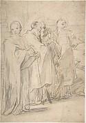 Saints John the Evangelist, Paul, Peter, and Stephen.