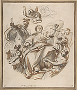 Study of Justice Dispensing Rewards to the Arts (recto); Study of a Lunette and Spandrel (verso)