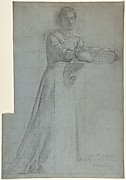 A Woman Distributing Bread from a Basket: Study for