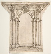 Design for an Arch with Brackets Supporting a Large Overhang.