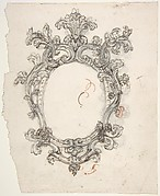 Design for a Decorative Oval Frame (Recto). Half sketch for a Decorative Oval Frame (Verso).