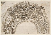 Ornamental Design with a Cherub Head in a Broken Pediment (recto); Design for the Frame of a Frieze (verso)