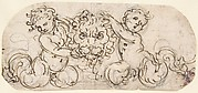 Design for Decorative Ornament with a Lion's Head Supported by Two Putti.