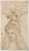 Design for a Helmet with a Dragon Presented in Frontal View