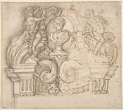 Project for a Memorial with a Bust Surrounded by Volutes and Garland-bearing Putti.