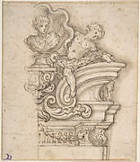 Project for a Memorial with Volutes and Garland-bearing Putti Surrounding a Bust in a Shell Niche.