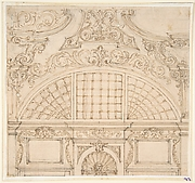 Design for a Semicircular Window above a Niche with Statue.
