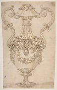 Design for a Two-handled Urn with Swags and a Lion's Head.