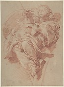 Allegorical Figure of Purity with a Unicorn (recto); Study for Drapery (verso)
