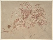 Half-Figure of an Angel Looking Upward (recto); Bust of a Man in Left Profile (verso)