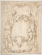 Drawing of Cartouche with Bearded Man Left, Young man crowned with Laurels Right, and Four Putti