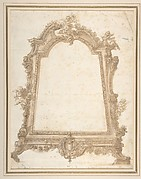 Design for a Sculptured Mirror Frame Decorated with Putti, Volutes and Garlands and a Coat of Arms at Bottom