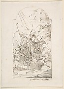 Saint Januarius Saving Naples from an Eruption of Mt. Vesuvius. Verso: Small sketch of similar scene.
