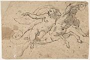 Nude Female Riding on a Triton's Back