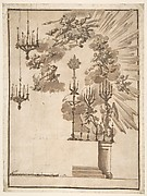 Design for an Altar for Easter Week Celebrations Decorated with Putti and Chandeliers