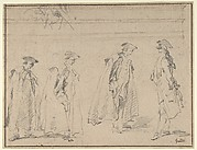 Figure Studies (recto); Figures Along a Canal and on a Bridge; to the right, a Curtain and a Stool (?) (verso)