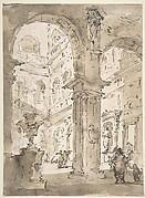Architectural Capriccio: Courtyard of a Palace (recto); Saint Aloysius Gonzaga Holding a Crucifix (verso)