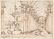 Architectural Capriccio: Vaulted Colonnade of a Palace