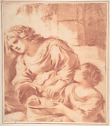 Woman Soaking a Cloth in a Bowl Held by a Girl (copy from Guercino's Saint Sebastian Tended by Irene)