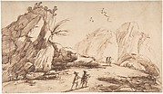 Rocky Landscape with Eight Figures.