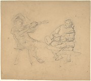 Two Seated Musicians (Recto); A Group of Figures Squared with Diagonal Lines (Verso)