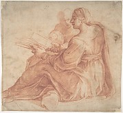 Seated Sibyl and Attendant Genius (recto); Study of the Head of a Horse in Profile (verso)