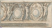 Design for a Decorated Frieze with Alternation of Cartouches and Winged Putti