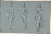 Three studies on a man on a saddle