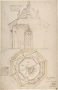 Plan of the Roof and Section of a Pavilion in the Gardens of the Château de Saint-Cloud (recto); Study for the Exterior with Partial Plan of the Pavilion (verso)