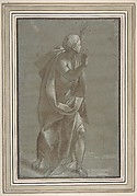 Standing Male Draped Figure With His Hands Raised.