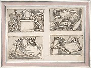 Four Sketches of Putti Hanging Coat of Arms