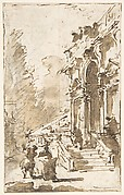 Architectural Capriccio: Garden Entrance to a Palace (recto); Three Masked and Costumed Figures and Other Figure Studies (verso)
