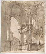 Architectural Study (recto); Separate Sheet with Architectural Drawing (verso)