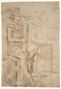 Seated Man Holding a Club or Other Implement (recto); Two Heads of Grotesque Men in Profile (verso).