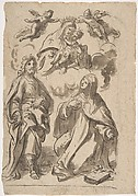 A Male and a Female Saint (Joseph of Aramathea? and Saint Catherine of Siena? Adoring the Virgin and Child in Glory (recto); Minerva Bellona with a Victorious Warrior (verso)