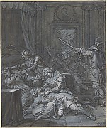 Interior scene with soldiers pillaging