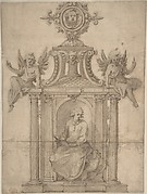 Ornamental Drawing, with St. John the Evangelist Seated in a Columned Niche, with Two Putti