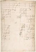 St. Peter's, tribune, exterior, entablature and cornice details (recto) Santa Maria Maggiore, Sforza Chapel, plan, detail (verso)