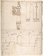 St. Peter's, cornice and architrave, profile; key, elevation; triglyph and guttae, elevation and section (recto) blank (verso)