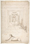 Palazzo dei Conservatori, coffered ceiling, ceiling plan and details; Sphinx, perspective view (recto) blank (verso)