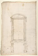 San Lorenzo, Library, Ricetto, portal to Ricetto, elevation; plan (recto) San Lorenzo, Library, Ricetto, portal from cloister, details (verso)