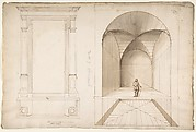 Unknown, portal or niche, plan and elevation; perspective study, interior, square chamber with cross-vault, with a scale figure (recto) blank (verso)