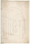 Perspective study of an Arched Colonnade