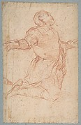 Kneeling Male Figure with Outstretched Arms (recto); Semi-Nude Seated Male Figure seen from Behind (verso)