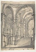 Design for a Stage Sets  Groin-vaulted Stairway Leading to a Gallery with Another Stairway to a Second Story at Left (recto); Slight Sketch Traced Through form the Recto and Reworked (verso).