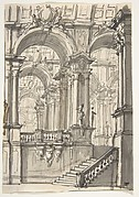 Design for a Stage Sets:  Anteroom with Stairs Leading to a Gallery Composed of a Series of Connected Barrel Vaults